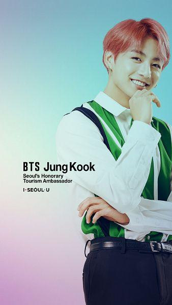 Tags: K-Pop, Bangtan Boys, Jungkook, Grin, Belt, Striped Shirt, Gradient Background, Red Hair, Collar (Clothes), English Text, Text: Artist Name, Black Eyes