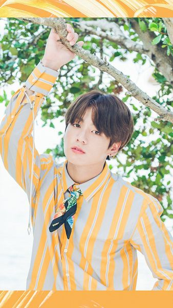 Tags: K-Pop, BTS, Jungkook, Tree, Serious, Plant, Striped, Striped Shirt, One Arm Up, BTS 2017 Summer Package
