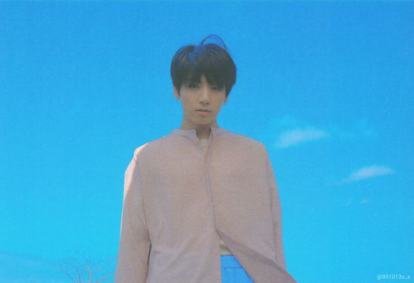 Tags: K-Pop, BTS, Jungkook, Blue Pants, Sky, Serious, Pink Shirt, Black Eyes, Love Yourself: Tear, Scan