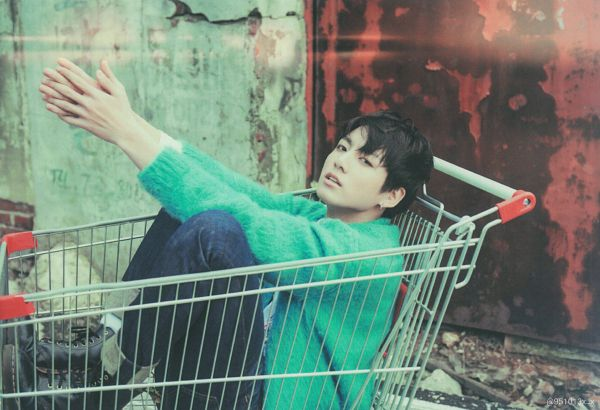Tags: K-Pop, BTS, Jungkook, Shopping Cart, Serious, Jeans, Cardigan, Blue Pants, Black Eyes, The Most Beautiful Moment in Life pt.2