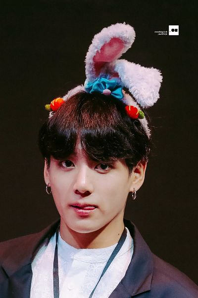 Tags: K-Pop, BTS, Jungkook, Licking Lips, Dark Background, Animal Ears, Tongue, Fansigning Event