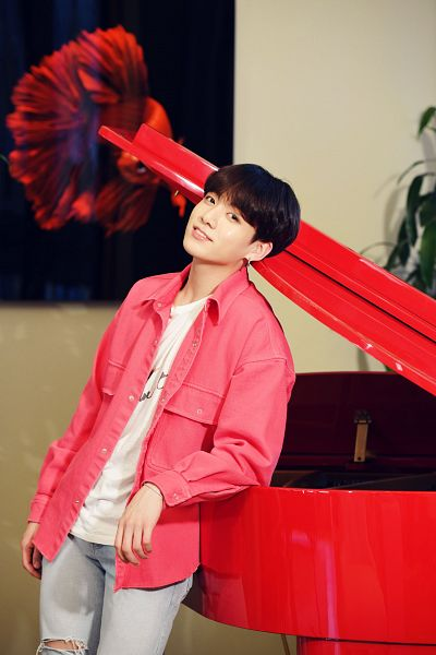 Tags: K-Pop, BTS, Jungkook, Grin, Plant, Piano, Ripped Pants, Jeans, Pink Jacket, Black Eyes, Canvas, Musical Instrument
