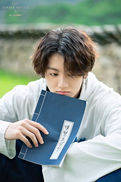 Tags: K-Pop, BTS, Jungkook, Book, Hood, Blue Pants, Hoodie, Looking Down, English Text, Serious, BTS 2019 Summer Package, Facebook
