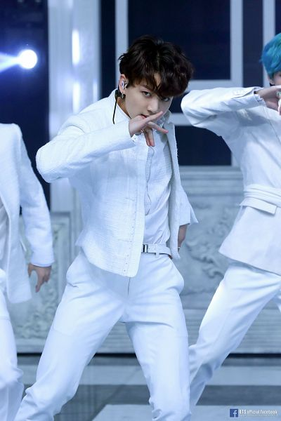 Tags: K-Pop, BTS, Dionysus, Jungkook, English Text, Text: Artist Name, White Jacket, Trio, Dancing, White Pants, Text: URL, Belt