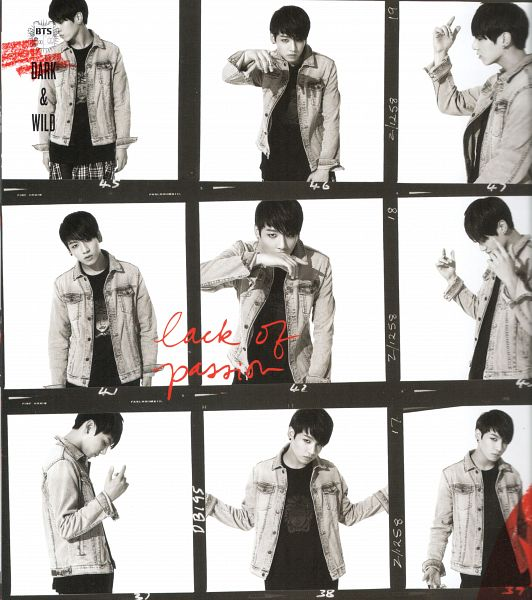 Tags: K-Pop, BTS, Jungkook, Monochrome, Text: Album Name, English Text, Light Background, Denim Jacket, Multiple Persona, White Background, Frame, Scan
