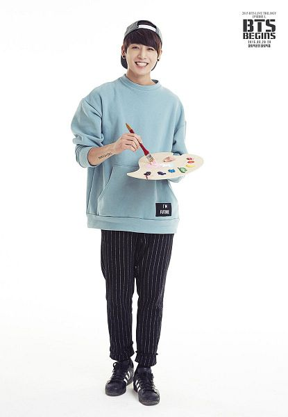 Tags: K-Pop, BTS, Jungkook, Brush, Hat, Tattoo, Black Pants, Striped Pants, Light Background, Striped, White Background, Black Footwear