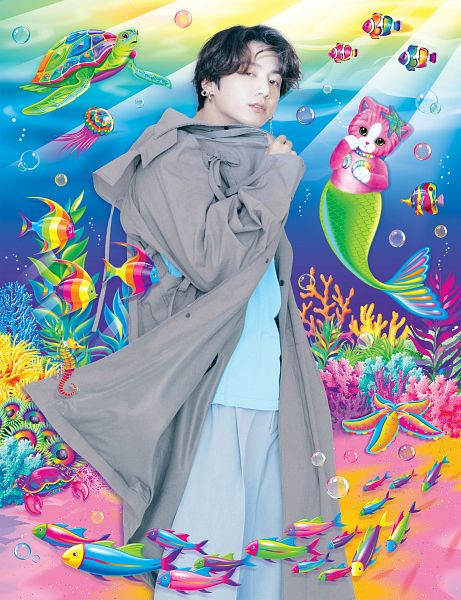 Tags: K-Pop, BTS, Jungkook, Blue Shirt, Eyes Half Closed, Coat, Gray Outerwear, Blue Pants, Scan, Paper Magazine, Magazine Scan