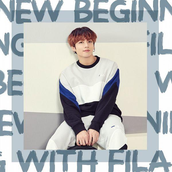 Tags: K-Pop, BTS, Jungkook, Shadow, Sweater, Multi-colored Hair, White Border, English Text, Black Eyes, Instagram, Fila, Twitter