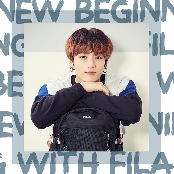 Tags: K-Pop, BTS, Jungkook, Multi-colored Hair, Bag, English Text, Black Eyes, Backpack, Shadow, Sweater, White Border, Twitter