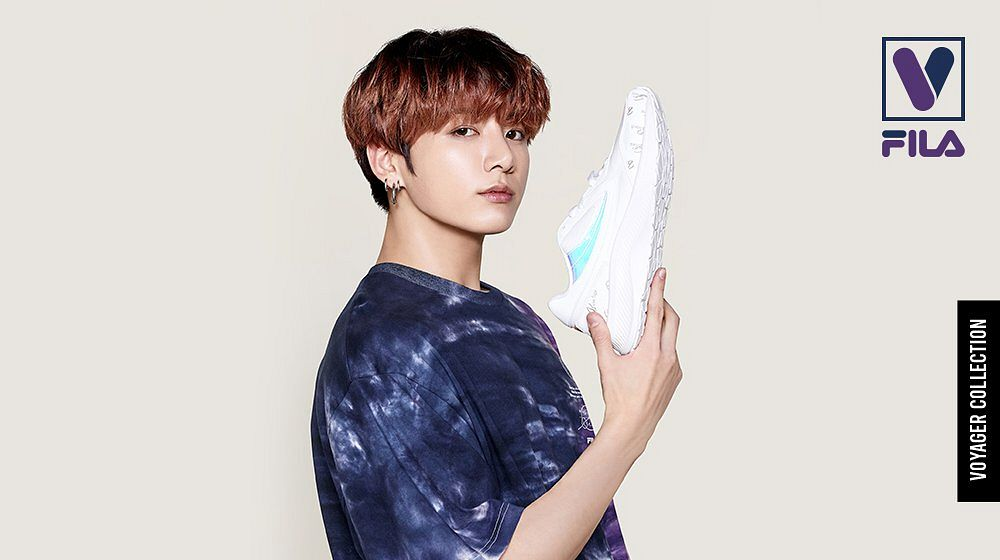 Tags: K-Pop, BTS, Jungkook, Shoes, Black Eyes, Close Up, Multi-colored Hair, White Footwear, English Text, Sneakers, Light Background, Short Sleeves