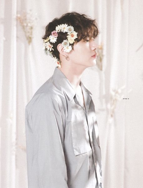 Tags: K-Pop, BTS, Jungkook, Curtain, Wavy Hair, Blue Shirt, White Flower, Crown, Flower Crown, Bouquet, Flower, Pink Flower