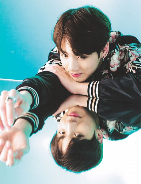 Tags: K-Pop, BTS, Jungkook, Floral Print, Hand On Arm, Facial Mark, Reflection, Ring, Floral Jacket, Mole, Looking At Reflection, Scan