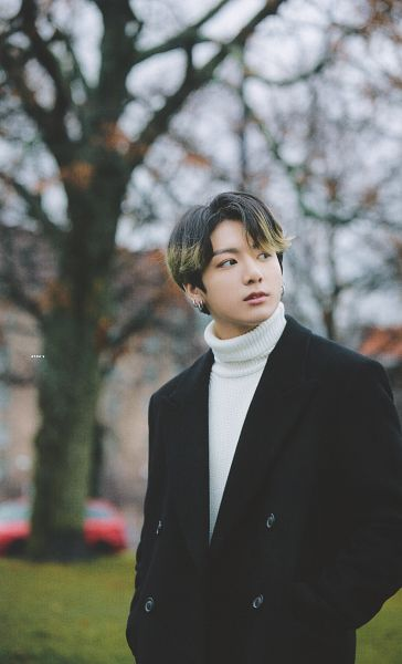 Tags: K-Pop, BTS, Jungkook, Coat, Black Outerwear, Collar (Clothes), Multi-colored Hair, Turtleneck, Tree, Hand In Pocket, Black Eyes, Looking Away