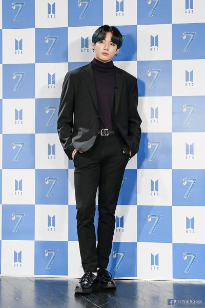 Tags: K-Pop, BTS, Jungkook, Belt, Turtleneck, English Text, Tattoo, Purple Outerwear, Suit, Black Footwear, Hand In Pocket, Text: URL
