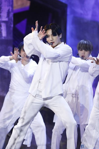 Tags: Television Show, K-Pop, BTS, Black Swan, Jungkook, Park Jimin, Suga, Text: URL, Belt, Arms Up, English Text, Stage