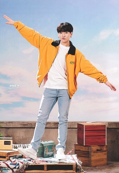 Tags: K-Pop, BTS, Euphoria, Jungkook, White Footwear, Pouting, Box, Jeans, Yellow Outerwear, Arms Out, Blue Pants, 2019 BTS Festa