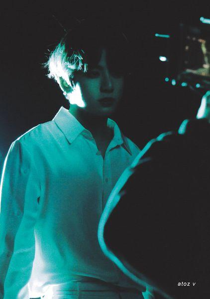 Tags: K-Pop, BTS, Jungkook, Dark Background, Black Background, Serious, BTS Memories of 2019, Scan