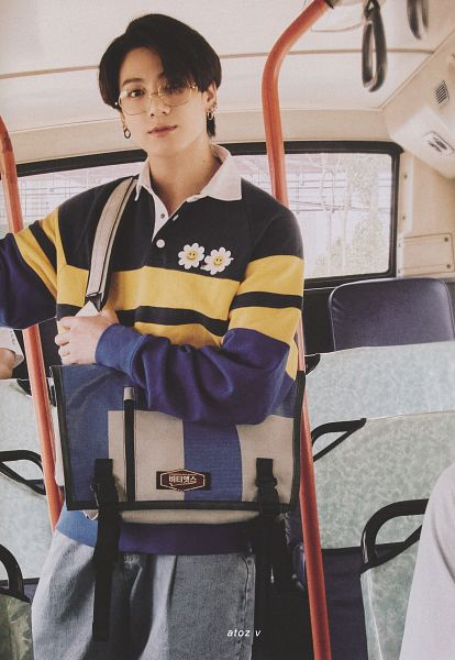 Tags: K-Pop, BTS, Jungkook, Glasses, In Car, Bag, Car, Striped, Striped Shirt, Bus, Scan, BTS 2021 Season's Greetings