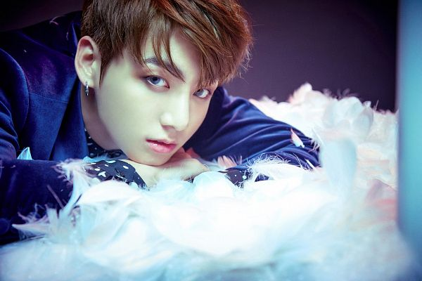 Tags: K-Pop, BTS, Jungkook, Contact Lenses, Feather, Blue Jacket, Laying On Stomach, Laying Down, Blue Outerwear, Wallpaper, Wings (Album)