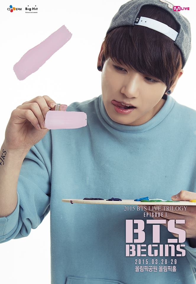 Tags: K-Pop, BTS, Jungkook, Black Eyes, Light Background, Painting (action), White Background, Tattoo, Blue Shirt, Hat, Tongue, English Text