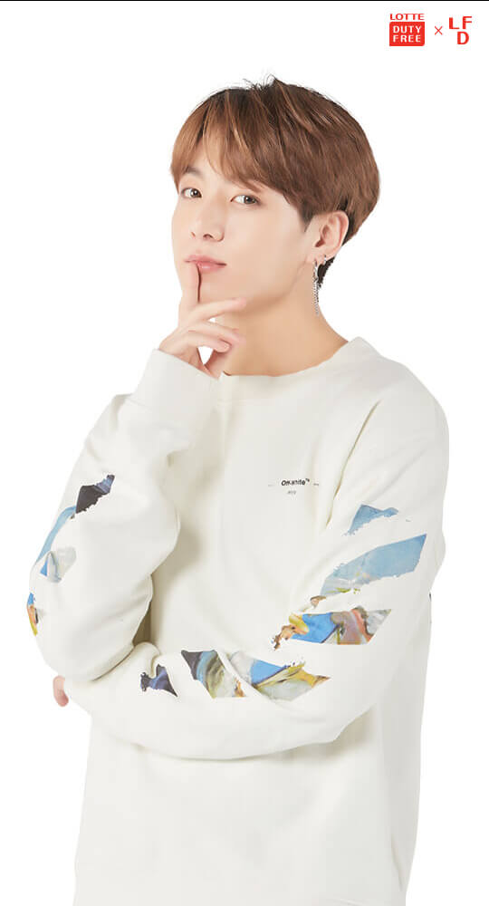 Tags: K-Pop, Bangtan Boys, Jungkook, White Background, English Text, Text: Magazine Name, Light Background, Logo, Android/iPhone Wallpaper, Magazine Scan, Scan, Lotte Duty Free