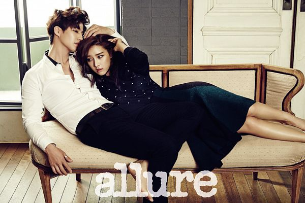 Tags: K-Drama, Kim So-eun, Song Jae-rim, Couch, Laying On Side, Blue Shirt, Skirt, Blue Skirt, Black Pants, Couple, Holding Close, Pants