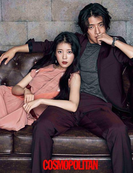 Tags: K-Pop, K-Drama, Kang Ha-neul, IU, Striped Shirt, Red Pants, Pink Dress, Blush (Make Up), Couple, Wristwatch, Pink Outfit, Facial Mark