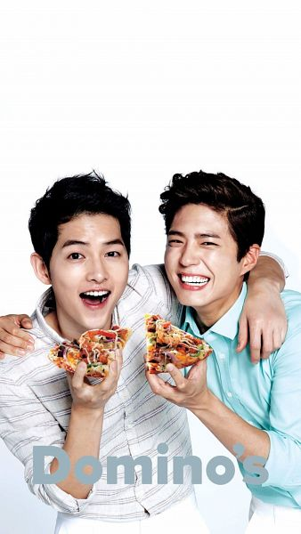 Tags: K-Drama, Song Joong-ki, Park Bo-gum, Pizza, Food, Arm Around Shoulder, Two Males, Duo, Domino's Pizza