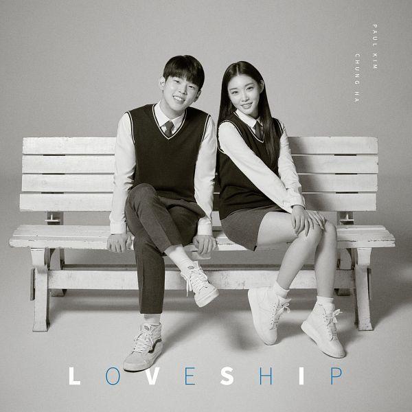 Tags: K-Pop, Paul Kim, Kim Chung-ha, Text: Artist Name, Tie, Crossed Legs, Shoes, Gray Skirt, Skirt, Duo, School Uniform, White Footwear