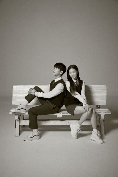 Tags: K-Pop, Kim Chung-ha, Paul Kim, Tie, Black Eyes, Gray Pants, Side View, Self Hug, Leg Hug, Skirt, Gray Skirt, Shoes