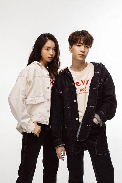 Tags: K-Pop, Got7, Pristin, Im Nayoung, Choi Youngjae, Black Pants, White Jacket, Light Background, White Outerwear, Duo, White Background, Serious