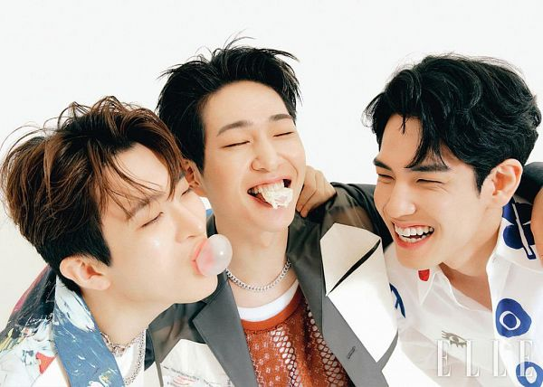 Tags: K-Pop, SHINee, DAY6, Got7, Onew, Kim Wonpil, Choi Youngjae, Sweets, Trio, Three Males, Laughing, Eyes Closed