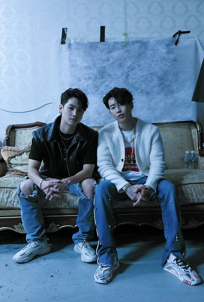 Tags: K-Pop, Got7, Jay Park, JB, Sitting On Couch, Jeans, Ripped Pants, Two Males, Couch, Serious, Duo