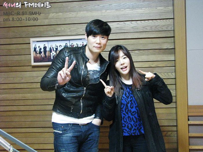 Tags: K-Pop, Girls' Generation, Sunny, Choi Hyun-seok, Hand In Pocket, Text: Series Name, Leather Jacket, Blue Shirt, Pointing, Leopard Print, Black Pants, V Gesture