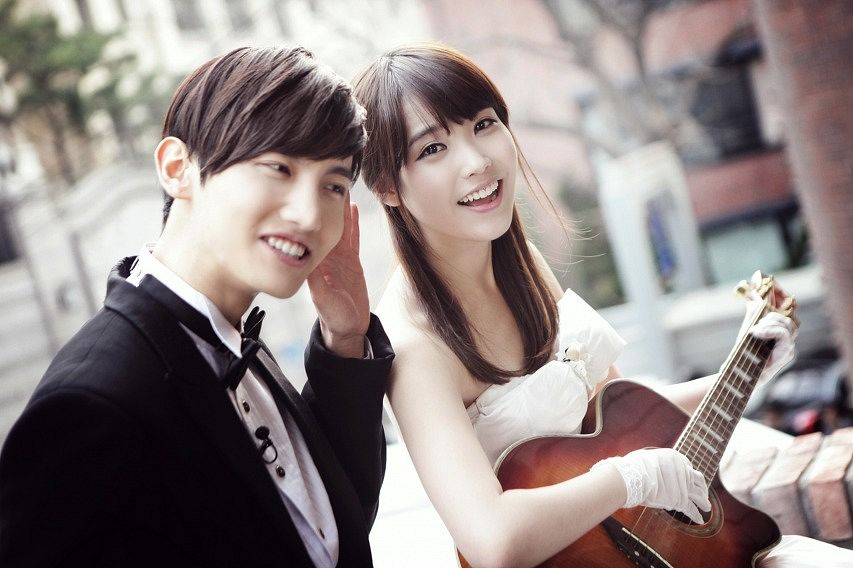 Tags: K-Pop, TVXQ, Max, IU, Duo, White Dress, Playing Instrument, White Gloves, Wedding Dress, Suit, Couple, Guitar