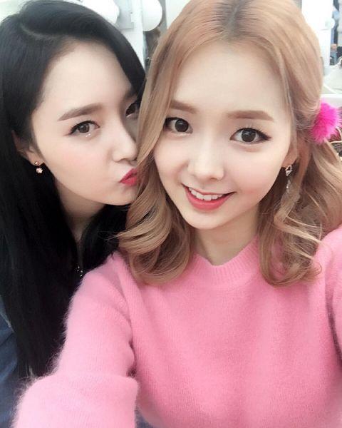 Tags: K-Pop, Dal Shabet, Stellar, Lee Hyoeun, Bae Woo-hee, Duo, Pouting, Pink Shirt, Black Outerwear, Sweater, Black Jacket, Pink Headwear