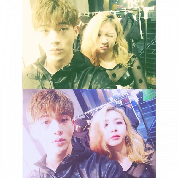 Tags: K-Pop, K.A.R.D, Wink, Collage, Duo, Black Outfit, Instagram, Selca
