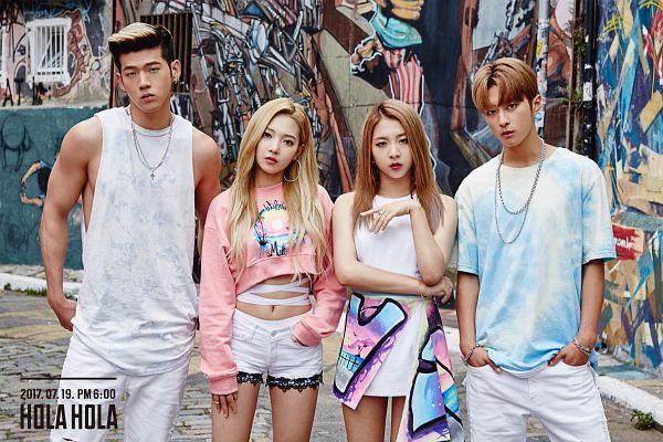 Tags: DSP Media, K-Pop, K.A.R.D, Hola Hola, J.Seph, BM, Jeon Somin, Jeon Jiwoo, Sleeveless, Blue Shirt, Sleeveless Shirt, English Text