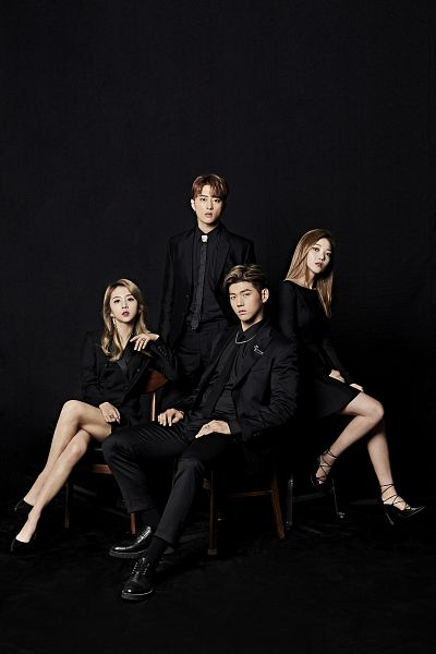 Tags: K-Pop, K.A.R.D, You In Me, Jeon Somin, BM, Jeon Jiwoo, J.Seph, Black Background, Sitting On Chair, Suit, Full Group, Black Outfit