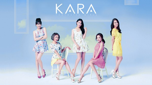 Tags: K-Pop, KARA, Seungyeon Han, Hara Goo, Gyuri Park, Jiyoung Kang, Nicole Jung, Yellow Dress, Pink Footwear, Crossed Arms, Full Group, High Heels