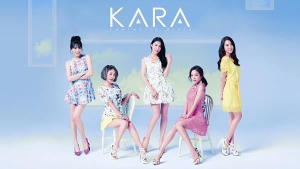 Tags: K-Pop, KARA, Nicole Jung, Seungyeon Han, Hara Goo, Gyuri Park, Jiyoung Kang, Sitting On Chair, Five Girls, Text: Album Name, Chair, Quintet