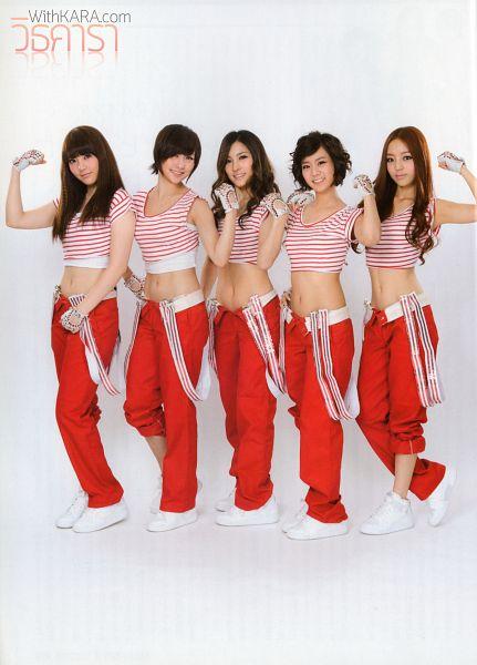 Tags: DSP Media, K-Pop, KARA, Red Pants, Group, Fingerless Gloves, Gloves, White Footwear, Navel, Striped Shirt, Striped, Midriff