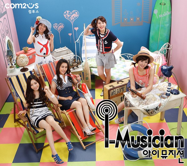 Tags: K-Pop, KARA, Nicole Jung, Seungyeon Han, Hara Goo, Gyuri Park, Jiyoung Kang, Sitting On Chair, Blue Background, Bare Legs, Black Jacket, Striped