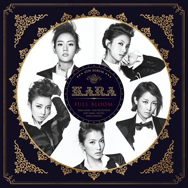 Tags: K-Pop, KARA, Nicole Jung, Seungyeon Han, Hara Goo, Gyuri Park, Jiyoung Kang, Monochrome, Black Background, Black Jacket, Text: Album Name, Five Girls