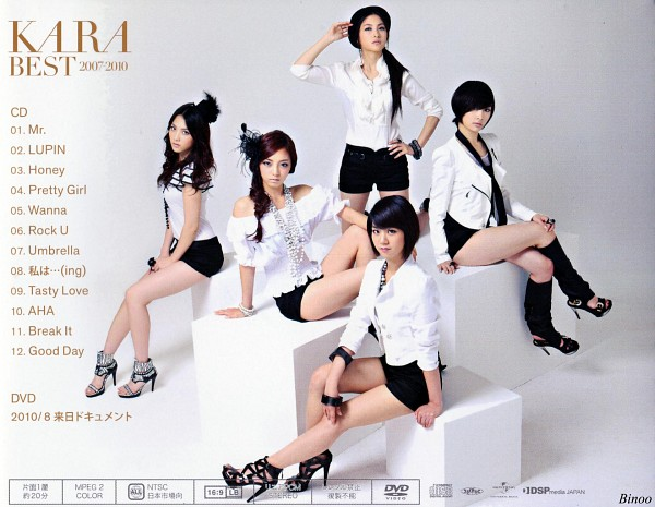 Tags: K-Pop, KARA, Gyuri Park, Jiyoung Kang, Nicole Jung, Seungyeon Han, Hara Goo, Hand On Knee, Full Group, Hand On Hip, Hand On Leg, Black Headwear