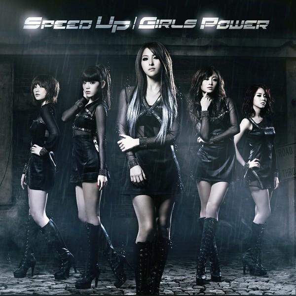 Tags: K-Pop, KARA, Jiyoung Kang, Nicole Jung, Seungyeon Han, Hara Goo, Gyuri Park, Skirt, Crossed Arms, Text: Album Name, Medium Hair, Black Footwear