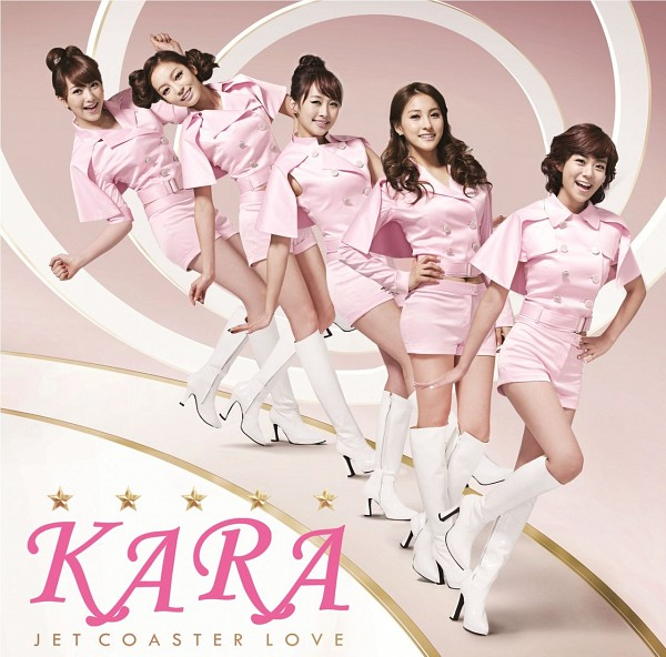 Tags: K-Pop, KARA, Jet Coaster Love, Jiyoung Kang, Nicole Jung, Seungyeon Han, Hara Goo, Gyuri Park, Five Girls, Brown Background, Knee Boots, Midriff