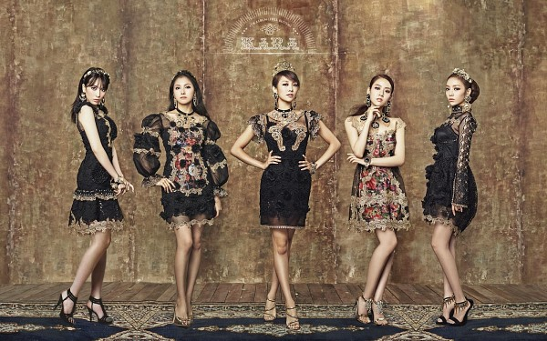 Tags: K-Pop, KARA, Hara Goo, Gyuri Park, Jiyoung Kang, Nicole Jung, Seungyeon Han, Brown Background, Sleeveless, Full Group, Black Outfit, Text: Album Name