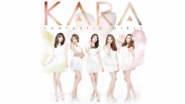 Tags: K-Pop, KARA, Jiyoung Kang, Nicole Jung, Seungyeon Han, Hara Goo, Gyuri Park, Bare Legs, Sleeveless, Five Girls, Text: Album Name, Skirt