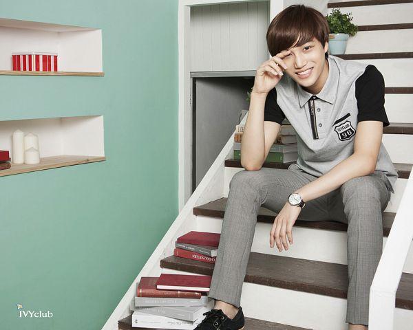 Tags: K-Pop, EXO, Kai, Gray Shirt, Watch, Gray Pants, Sitting On Stairs, Black Footwear